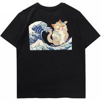 ingrosso gatti giapponesi del fumetto-Maglietta Hip Hop Mens 2019 Streetwear Maglietta Gatto Cartoon Harajuku Maglietta Giapponese Anime Maglietta Ukiyo-e Estate Manica Corta Tees
