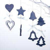étoile bleue pour arbre de noël achat en gros de-Marine Bleu En Bois Artisanat De Noël Arbre Décor Suspendu Pendentif Bell Star Coeur Ornement Décoration De Noël pour La Maison De Fête De Noël