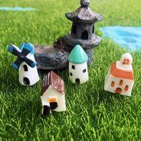 Wholesale miniature fairy garden houses resale online - Miniature European Country Villa House Housing Micro Landscape Creative arts crafts Resin Decoration Fairy Garden Decoration