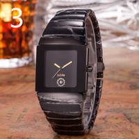 ingrosso orologio quadrato di lusso svizzero-Orologio svizzero di lusso unisex Orologio da uomo in quarzo nero con quadrante in ceramica - QUADRANTE QUADRATO