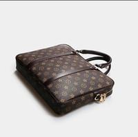 maletín de documentos al por mayor-clásico caliente en bolsas de mensajero de los hombres cruzan estilo clásico bolso de cuero real de negocios alta calidad de grado bolso de la cartera de documentos travesía Brown 41478
