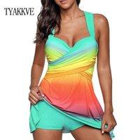 fato de banho venda por atacado-TYAKKVE Plus Size Swimwear Vestido Mulheres Big Size Two Piece Beachwear Tankini Bandeau Push Up Grande Bust Swim vestido Monokini S-5XL