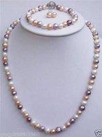 collar de perlas rosa pendiente conjunto al por mayor-Natural 7-8mm blanco rosado púrpura collar de perlas de agua dulce Pendiente conjunto pulsera