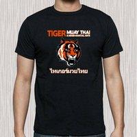 логотипы боевых искусств оптовых-Тигр Муай Тай боевых искусств Додзе логотип мужская черная футболка размер S до 3XL