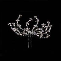 cabeça pino moda venda por atacado-Moda Handmade Ouro Prata Pérola De Cristal De Casamento Nupcial Da Dama De Honra Cabelo Pin Acessório de Cabelo Jóias Princesa Faixa de Cabelo Banda Cabeça