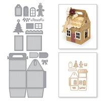 ingrosso boxed christmas cards-Scatola regalo di Natale Metallo Taglio Muore Stencil per DIY Scrapbooking Album Carte da Goffratura di Carta Creazione di Artigianato Decorativo