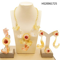 Wholesale 24k gold filled wedding ring resale online - Yulaili Dubai Gold Jewelry Sets for Women Fashion Necklace Earrings Bracelet Ring Fine Jewellery k Tricolor New Design