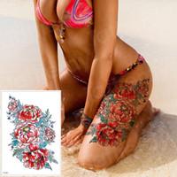 tatuaje de peonias al por mayor-Pegatinas de tatuaje a prueba de agua Bikini Peony Tattoo Body Art Flower Rose Tattoo Transferencia de agua falsa SH190729