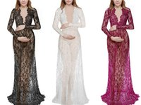Wholesale sexy wedding dresses fish tail resale online - Foreign Trade Hot New Deep V Neck Long Sleeve Large Open Back Show Thin Lace Small Tail Fish Tail Wedding Dress