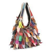 кожаная сумка оптовых-Модные лоскутные сумки с верхней ручкой Дизайнерские кожаные сумки с разрезом для крупного рогатого скота