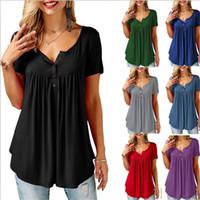 siyahlar dış giyim toptan satış-Pileli Katlama Düğmesi Kısa Kollu Kadın Gevşek T Gömlek Konfor Açık Rahat Giysiler Siyah Mavi Polyester Elyaf Moda 21fy C1