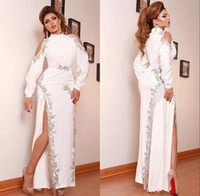 Wholesale line dress split middle resale online - 2020 Beaded High Split Middle East White Mermadi Evening Dresses Long Sleeve Evening Gowns Formal Wear Evening Dress robe de soiree