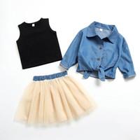 kleine mädchen tutu sets großhandel-Frühlings-Herbst-Mädchen passen Kinder Designer-Kleidung Mädchen Outfits 3pcs / set-Shirt + Weste + Tutu Kinder kleine Mädchen Kleidung A6488 Outfits