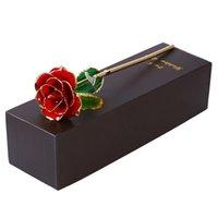 rosas de oro para el día de san valentín al por mayor-Bloqueado Lacado 24 k Rosas de oro Chapado en rosa Cumpleaños Regalo de aniversario de San Valentín con bolsa de recuerdo Q190522