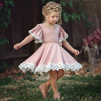 Wholesale wool baby clothes dresses for sale - Group buy Designer Baby girls Lace fly Short sleeve dress INS children princess dresses summer Fashion boutique Kids Clothing