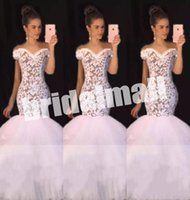 Wholesale off white long lace dress for sale - Group buy Appliqued Lace White Mermaid Prom Dresses Long Arabic Formal Party Gowns Sweep Train Special Occasion Dress Prom Wear Vestido de fiesta