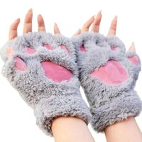 Wholesale paw glove resale online - Women Girls Lovely Fluffy Bear Cat Plush Paw Claw Half Finger Gloves Mitten Winter Warm Fingerless Gloves YD0438