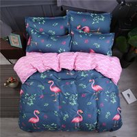 Wholesale left machine for sale - Group buy Flamingo Bedding Set Single Romantic Sweet Hot Sale Duvet Cover Leaves Queen King Twin Full Double Soft Bed Cover with Pillowcase