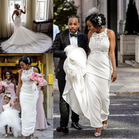 Wholesale train stain for sale - Group buy African Plus Size Mermaid Wedding Dresses Sheer Back Lace Stain Cathedral Train Garden Outdoor Dancing Bridal Gown vestidos de novia