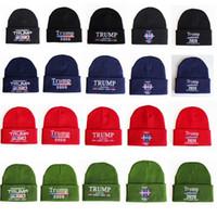 привет шляпы оптовых-Дональд Трамп вязаную шапочку сделать Америка Великий Trump 2020 Письмо вышивки конструктора вязания крючком зимы шлема осени Привет-поп Cap HHA776