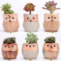 Wholesale cute planters resale online - Creative Ceramic Owl Shape Flower Pots New Ceramic Planter Desk Flower Pot Cute Design Succulent Planter Pot MMA1635