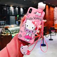 olá capas do iphone da vaquinha venda por atacado-Bonito dos desenhos animados hello kitty phone case para iphone 6 6 s 7 8 plus x xs max xr silicone macio rosa boneca tampa traseira