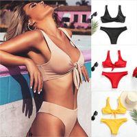 maillot sexy push up al por mayor-Sexy bikinis 2019 mujer Bikini Set Traje de baño Bowkot Tankini Push Up traje de baño Maillot De Bain Traje de baño Niñas biquini feminino