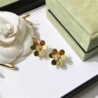 elmas şekilli kristaller toptan satış-Moda Kalp şeklinde Saplama Küpe Kadınlar Lüks Kristal Elmas Küpe Lady Gül Altın Gümüş Küpe Güzel Takı Lover Hediyeler