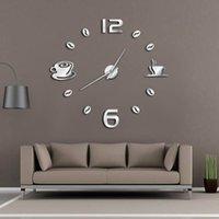 diseños de cocina de pared de café al por mayor-Cafe DIY Gran Reloj de Pared Sin Marco Reloj de Pared Gigante Diseño Moderno Café Taza de Café Grano de Café Decoración de Cocina Reloj