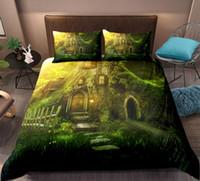 textiles para la casa al por mayor-Juego de cama 3D Forest dreamland Juego de funda nórdica con estampado Juego de cama Dreamy Tree House con funda de almohada Textiles para el hogar