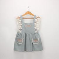 diseños vintage vestido de verano al por mayor-Vintage Lolita estilo niña niños ropa vestido flor diseño bordado vestido de liga con encaje decoración niña vestido de verano
