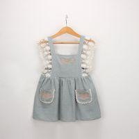 ingrosso disegni della bretella-Vintage Lolita Style Girl Kids Clothing Dress Flower ricamo Design Suspender Dress con pizzo decorazione ragazza Summer Dress