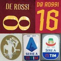 letras de plástico vintage al por mayor-# 8 DE ROSS Roma imprimiendo el nombre del fútbol # 16 DE ROSS letras estampadas en caliente del jugador de fútbol impreso parches de plástico vintage de fútbol pegatinas