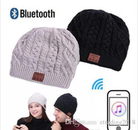 alto-falantes estéreo bluetooth venda por atacado-Macia e quente Beanie sem fio Bluetooth Hat Cap Headset Headphone Speaker Voz Stero Mic das mulheres dos homens