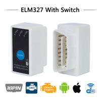 kann bus diagnose-tool renault groihandel-Freeshipping V2.1 Super Mini ELM327 Wifi ELM 327 Weiß OBD2 OBD ii CAN-BUS Diagnose-Tool + Schalter Funktioniert mit Android Symbian Windows