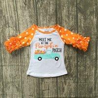 laranja conhecida venda por atacado-ação de graças do bebê meninas boutique top camisetas roupas me encontrar em manga de gelo de abóbora top de algodão crianças raglans babados laranja
