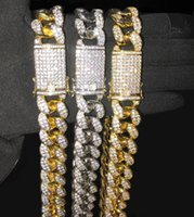 Wholesale chokers china resale online - 20mm inches Heavy Iced Out Zircon Miami Cuban Link Chain Necklace Choker Bling Hip hop Gold Silver Rosegold Jewelry