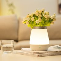 casa lâmpadas recarregável venda por atacado-LED Vase Luz Table Lamp recarregável Home Living Room Bed Room Luxury Decor vaso Lamp Flores inteligente Touch Control Night Light