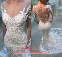 Wholesale boho beads for sale - Group buy Sexy Boho Long Sleeves Lace Mermaid Wedding Dresses Illusion Neck Beaded Appliques Beach Wedding Gowns Buttons Back Bridal Dress Cheap