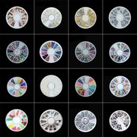 Wholesale color pearls nail art resale online - Mix Color Box set AB Color Pearl Nail Rhinestone Small Irregular Loose Beads Manicure D Nail Art Decoration Wheel Accessories