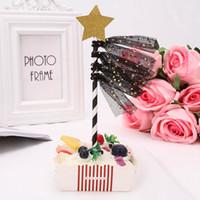 ingrosso festa di compleanno decorata rosa-Per matrimonio Compleanno Creativo StarTassel Forniture per decorazione dessert Dessert Rosa / Blu / Nero Cupcake Topper Card inserita