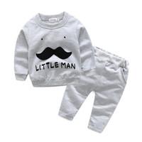 Wholesale baby mustache clothes for sale - Group buy 2019 Autumn Baby Boys Clothes Set Little Man Mustache Long Sleeve Tops Tshirt Pants Kids Set Children Boys Outfits