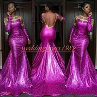 Wholesale african prom dresses resale online - Sexy Mermaid Backless Evening Dresses Sequins Long Sleeve Plus Size African Prom Juniors Gowns Formal Pageant Party Dress Vestido de noche