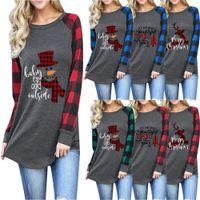 weihnachts t shirts plus größe groihandel-13styles Frauen Plaid Christmas T-Shirt in Übergrößen Weihnachten Tops Langarm-Shirt Brief-Druck-Patchwork-T-Shirts beiläufige Bluse O Ansatz Blusas FFA3367