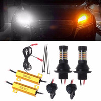 2x 1156 BA15S 2835 42-LED 30W Car Dual-Color Switchback DRL Turn Signal Light UK