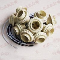 e27 klammer großhandel-E27 Schraubenhalter mit Draht LED-Lampensockel E27 mit Metallhalterung Diy Zubehör für Haushalts-Kronleuchter Kristalllampe