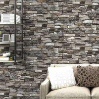ingrosso sfondi animati-Rosso, grigio Vintage Rustic Stone Brick Wallpaper Rotolo Soggiorno camera da letto Ristorante Sfondo Loft 3d carta da parati