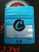 paquetes de funciones al por mayor-Paquete de galletas Carros Ziplock Bolsas azules Sólo Paquete de bolsas de empaque para Vape Cremallera Bolsas de pie Hierba seca Función de prueba para niños