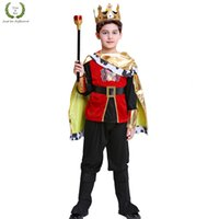 Wholesale costumes king prince resale online - Halloween Kids Prince costumes Children kindergarten Stage Role play Costumes with cape Kids king party fancy clothing with wand