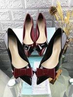 zapatos qiu al por mayor-Diseño: el nuevo zapato de chapa de cuero de charol de moda qiu dong es costoso bowknot temperamento mujer zapato 6cm